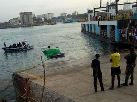 A blackspot? A trailer truck plunges into the Indian Ocean at the Likoni channel.