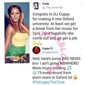 Dj Cuppy replies fan that wants her to stop music