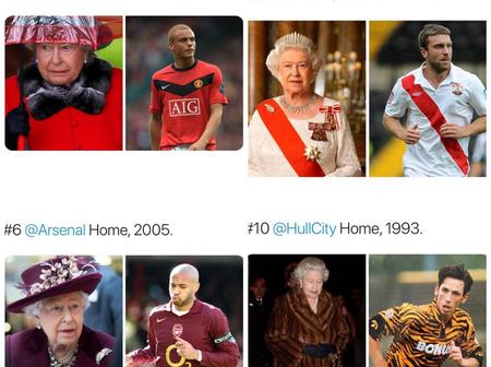 Check Out Hilarious Pictures Of Queen Elizabeth's Dressings As Football Kit (PHOTOS).