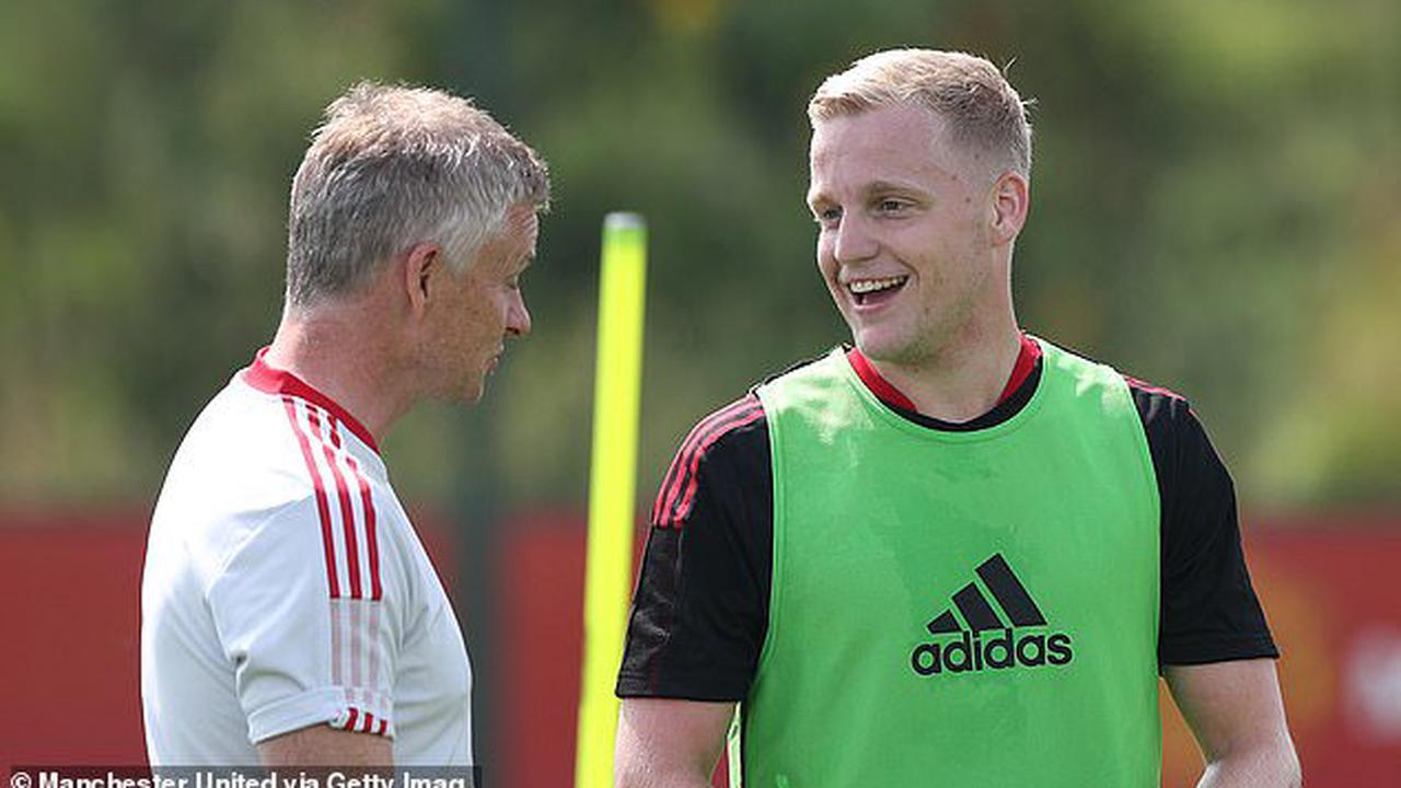 Donny van de Beek returns to Manchester United training after missing Euros and shares a smile with Ole Gunnar Solskjaer…as Dutchman looks to make impact after difficult debut campaign at Old Trafford