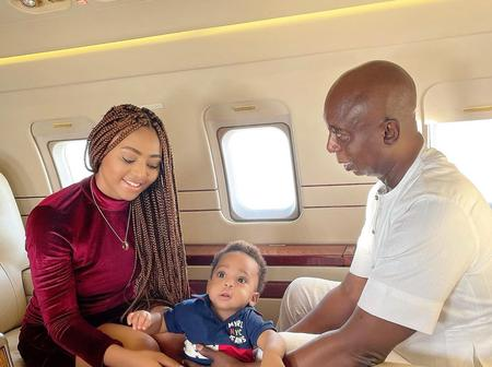Actress Regina Daniels Poses Inside A Private Jet With Her Husband And Son