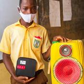 Reactions as school boy manufactured a bluetooth speaker using empty jerrycan [Photos]