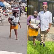 Uche Nwosu Donated N1 Million To A Lady That Went Viral For Hawking Pure-Water With One Leg (Photos)