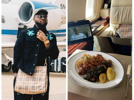 See how Davido was enjoying himself in his private jet, as he travels to USA with his team