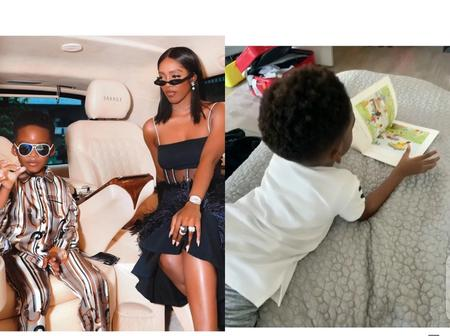 Tiwa Savage Teaches Her Son How To Read