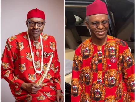 Check Photos Of Buhari, El-Rufai, Sanwo-Olu, Fani-Kayode Rocking The Isiagu Outfit Of Igbo People