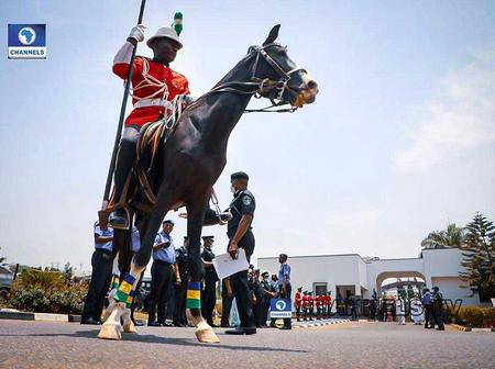 Minutes After He Was Decorated, Parade Guards Welcome New IGP To His Office In Abuja [PHOTOS]