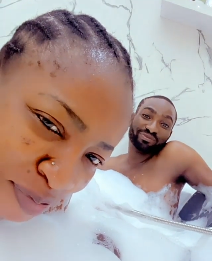Check out pictures of actress Anita Joseph spending quality time with her inside their bathroom 9