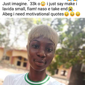 Corper begs for motivational quotes after exhausting her 33k allowance