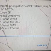 Voici la photo du compte d'un client orange avec plus de 900.000f de crédit d'appel qui fait le buzz