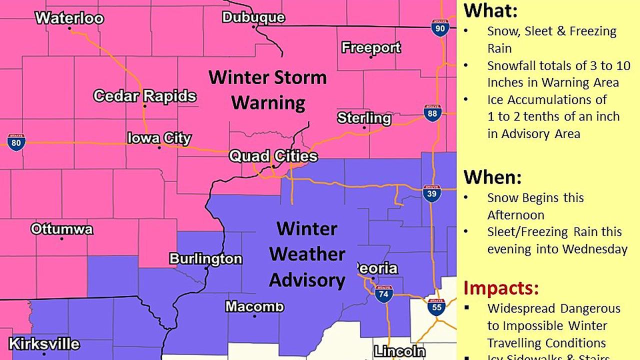 UPDATE: Quad Cities Upgraded To Winter Storm Warning/Advisory