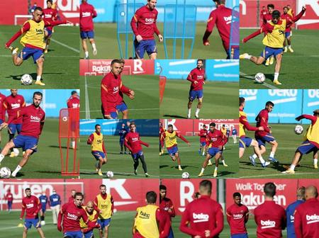 Pictures Of Barcelona Training Session At The Cuitat Esportiva Ahead Of Sevilla Clash Tommorow
