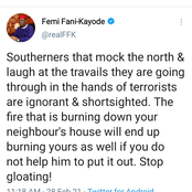 The Fire That is Burning Your Neighbours Will End Up Burning You - Fani-Kayode Blast Southerners