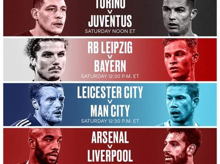 Here are some Top football matches coming up this weekend.