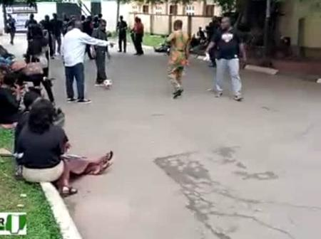 Workers Turn Edo Government House To Football Field Over Non Payment Of 11mths Salary