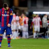 Lionel Messi receives his first ever red card as a Barcelona player