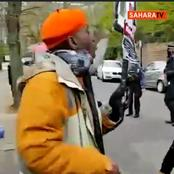 Video: Moment Anti-Buhari Protesters Chased Away Pro-Buhari Crowd At Abuja House