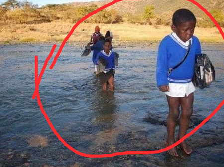 South Africans Break Silent After Seeing the Picture Of Black Kids Suffering While Going to School