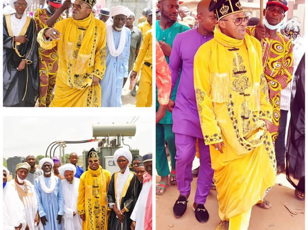 Photos: Oluwo Steps out in style with Islamic Clerics as he Unveils transformer donated to his Town