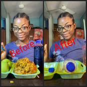See Reactions As Lady Uploaded Pictures Of Herself Before And After Eating