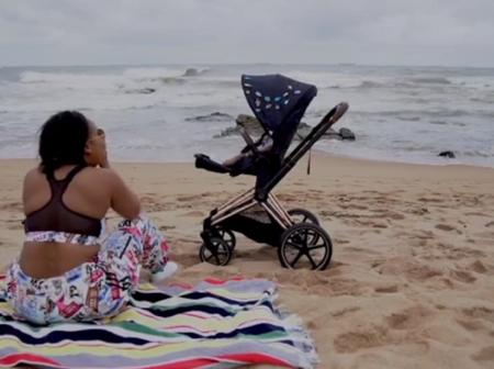 Minnie Dlamini-Jones took her son to the beach for the first time in an expensive stroller.