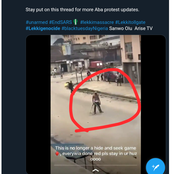 Protester In Aba Sighted Standing Unshakable As He Is Shot By Unknown Hoodlums (Video)