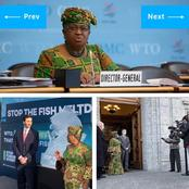 Dressed in African style, Dr Okonjo-Iweala assumes office as the Director-General of WTO