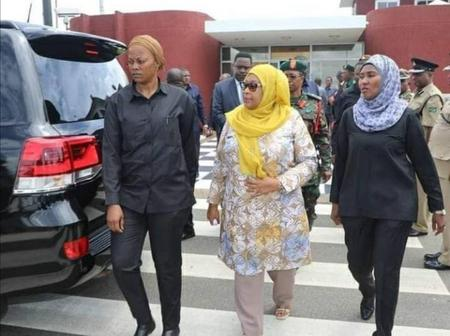 Stunning Pictures Of Tanzanian President Samia Suluhu Hassan Alongside Her Female Bodyguards.