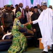 Photos of Osinbajo's wife kneeling down to greet elders in public