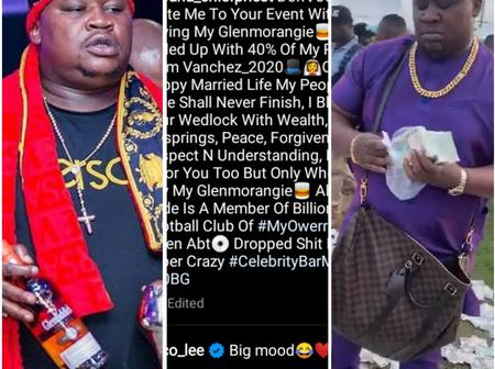 See The Way Cubana Chief Priest Displays With Money At A Friend's Wedding Reception