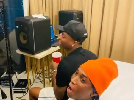 Wizkid spotted recently recording new track with Bella Shmurda