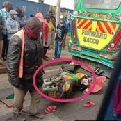 A Grisly Road Accident Involving A PSV Bus And A Motorbike Reported