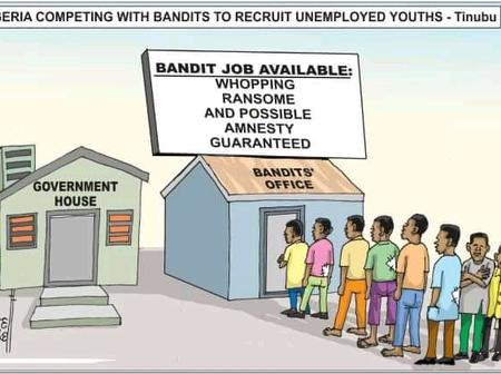 Cartoon About How FG Is Competing With Bandits To Recruit Unemployed Youths Sparked Reactions Online