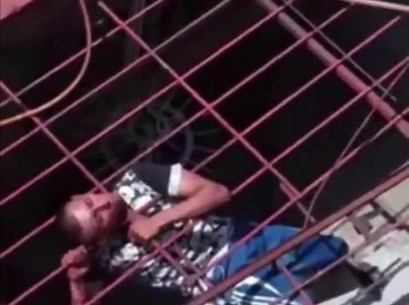 Unlucky thief stuck in the railings for 2 hours