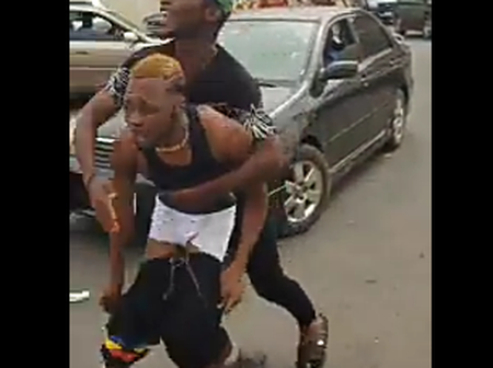 Suspected 'Yahoo' Boy, And Alleged Student Of Nekede Poly Runs Mad In The Middle Of The Road, Watch Video