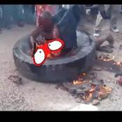 An arm robber was burnt to death when the police arrived(see details)