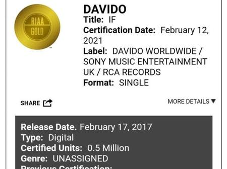 Davido becomes the first Nigerian artist to have two gold certifications in the USA.