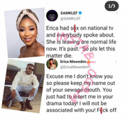 Mixed Reactions Between BBN's Ex-Housemate Erica And Samklef, Erica Knocks Samklef