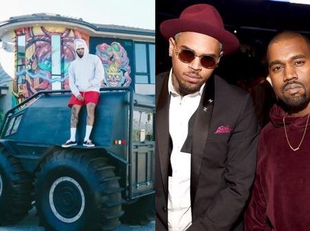 """""""Thank You Kanye West"""" – Chris Brown Says After Receiving $120K Truck Kanye Gifted Him (Photo)"""