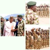 Throwback photos of Jonathan with the Military when insurgents threatened to stop the 2015 Election.