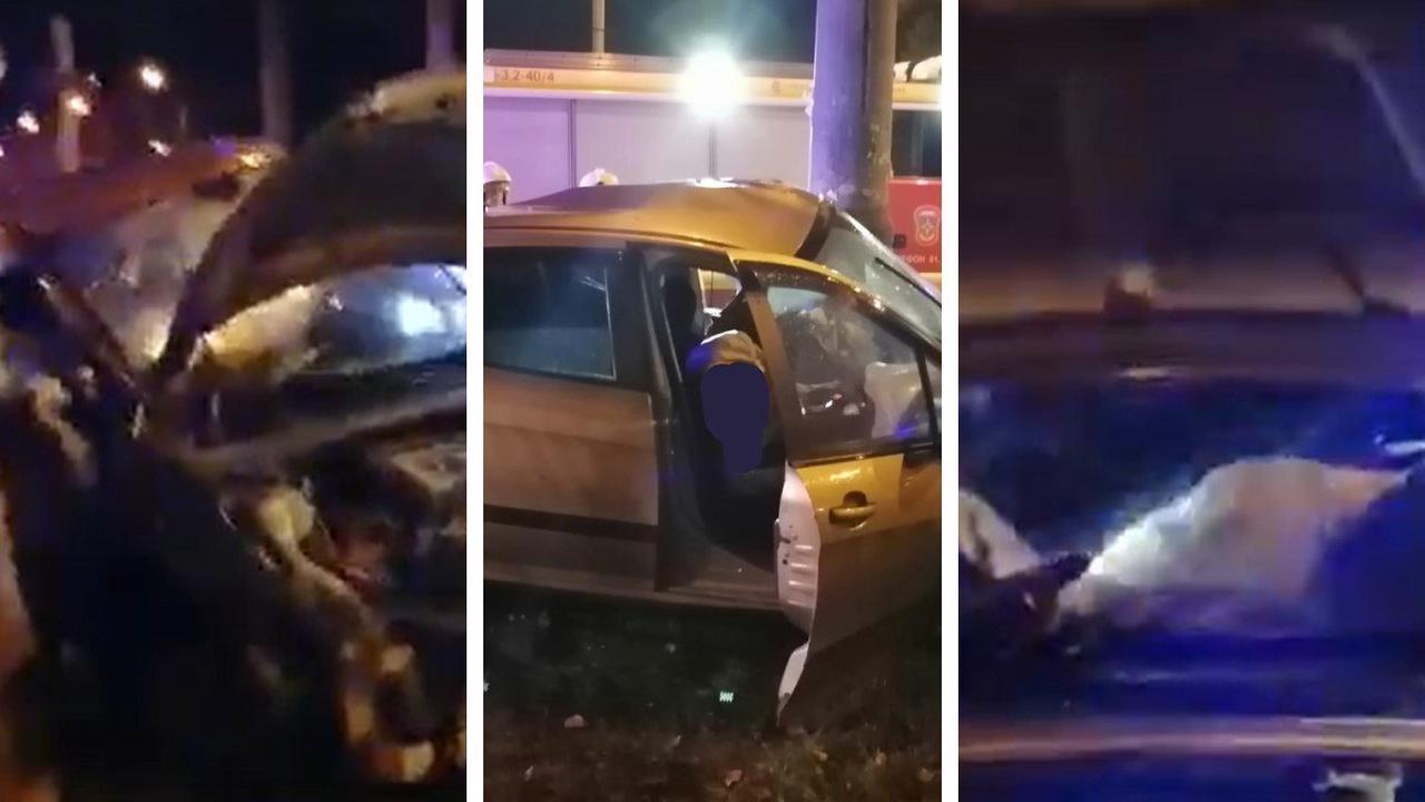 Появилось видео последствий смертельной аварии около парка Гагарина