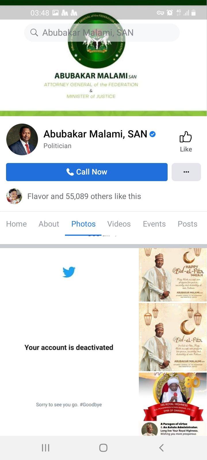 Abubakar Malami deactivates his twitter account