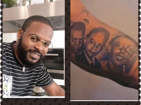 Fans React As Falz Tattoos His Parents And Sisters On His Arm