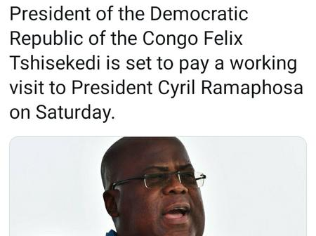DRC President Tshisekedi in South Africa amid political tensions at home