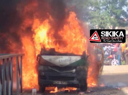 Bad News From Kakamega As Brand New Western Shuttle Matatu Is Reduced To Ashes Inside A Garage
