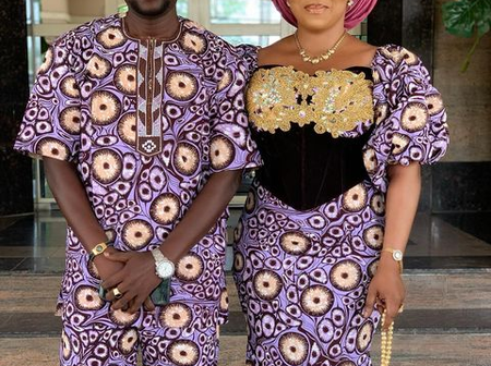 Reactions As Celebrity Couple Stuns In Beautiful Native Outfit For A Wedding Ceremony