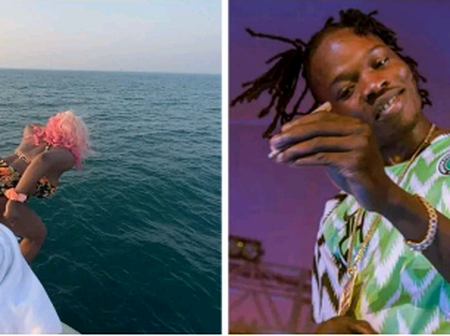 (PHOTOS) DJ Cuppy Jumps Into Ocean, Naira Marley Reacts On Instagram