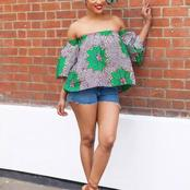 Checkout These Lovely Off-Shoulder Ankara Blouses You May Love To Try Out