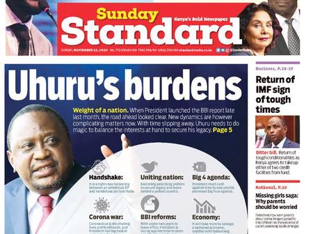 Sunday Standard and Sunday Nation Newspapers Headlines