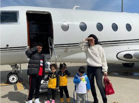 Cristiano Ronaldo takes his four kids on a private jet, see (Photos)